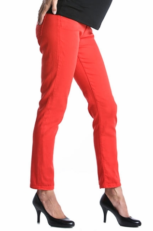 SOLD OUT Lilac Skinny 5 Pocket Maternity Jeans - Dark Coral