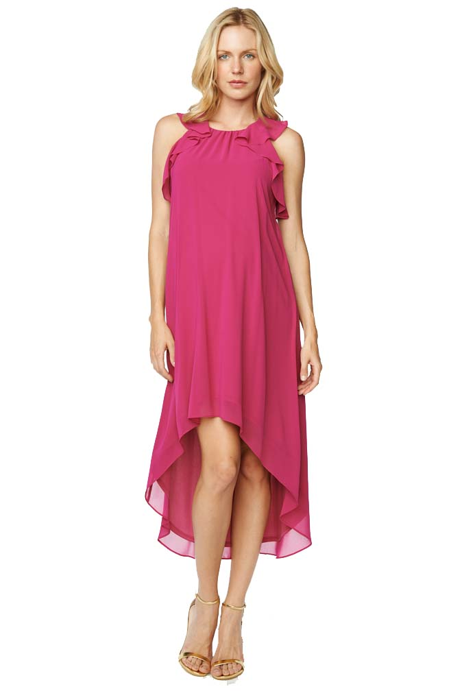 5df30319056 Maternal America Ruffle Chiffon Hi-Lo Maternity Dress