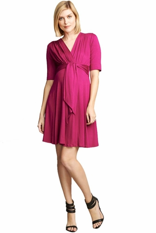 Maternal America Solid Mini Front Tie Maternity Dress