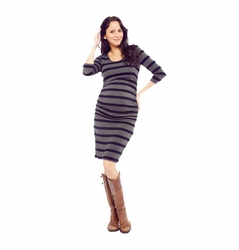NOM Ellie Rouched Side Maternity Dress 3/4 Sleeve