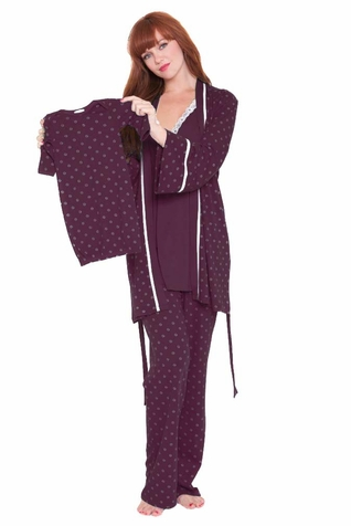 Olian Anne 4 Piece Mom And Baby Maternity Nursing Pajama Gift Set - Ditzy Print