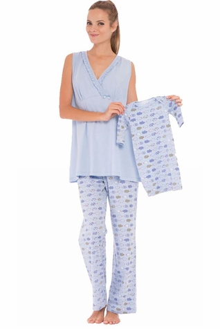 Olian Anne 5 Piece Mom And Baby Maternity Nursing Pajama Gift Set - Piggy Print