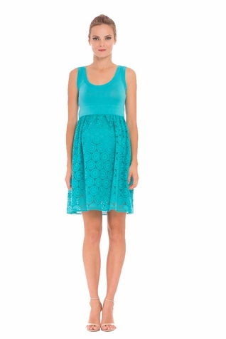 Olian Eloise Eyelet Maternity Tank Dress