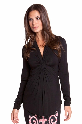 TEMPORARILY OUT OF STOCK Olian Lucy Knot Front Maternity Top - Long Sleeve