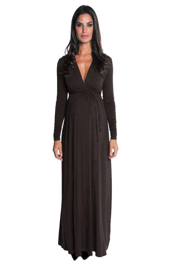 Maternity maxi dress with sleeves