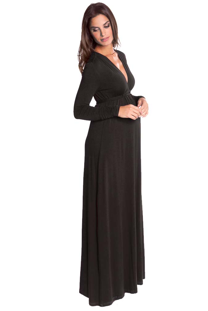 OUT Olian Lucy Long Sleeve Maternity Maxi Dress