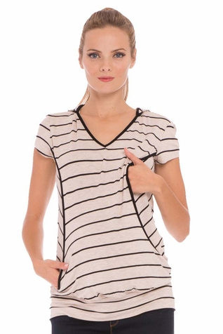 SOLD OUT Olian Ramona Maternity Nursing Striped Hooded Top
