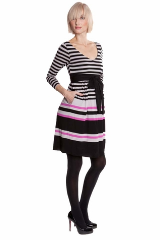 Olian Striped Empire Maternity Dress
