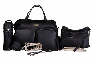 Oliva Leather Baby & Beyond Diaper Bag - Black