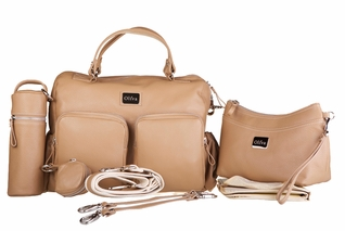 Oliva Leather Baby & Beyond Diaper Bag - Cappuccino