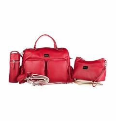 Oliva Leather Baby & Beyond Diaper Bag - Ruby