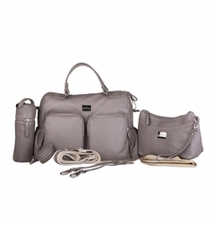 Oliva Leather Baby & Beyond Diaper Bag - Stone