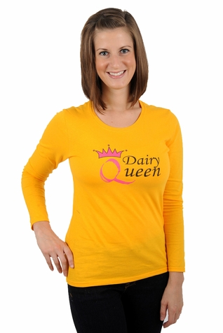 "One Creative Mama Long Sleeve Statement Tee For Moms ""Dairy Queen"""