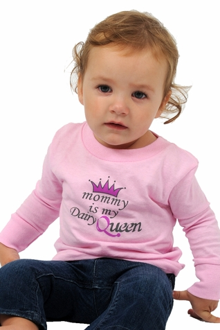 "One Creative Mama Long Sleeve Tee ""Mommy Is My Dairy Queen"""