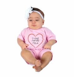 "One Creative Mama Short Romper ""I Love Mama's Milk"""