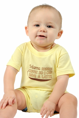 "One Creative Mama Short Romper ""Mama Drinks Coffee So That I Can Have A Latte"""
