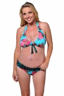 SOLD OUT Prego Roll Waist Maternity Halter Bikini - Floral