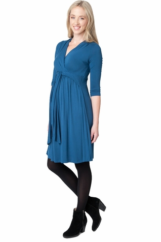 SOLD OUT Ripe Maternity Chic Knit 3/4 Sleeve Cross Front Dress