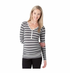 Ripe Maternity Henley Pregnancy Nursing Long Sleeve Tee