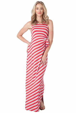SOLD OUT Ripe Maternity Striped Side Tie Maternity Maxi Dress