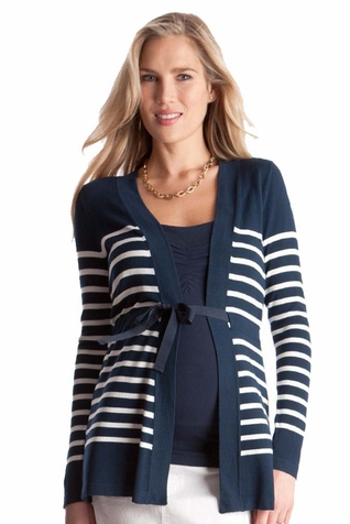 Seraphine Ariel Stripe Maternity Cardigan Sweater