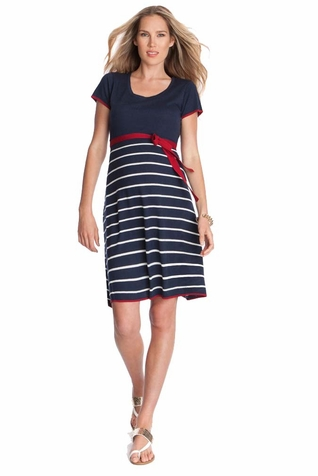 Seraphine Hillary Knitted Nautical Maternity Dress
