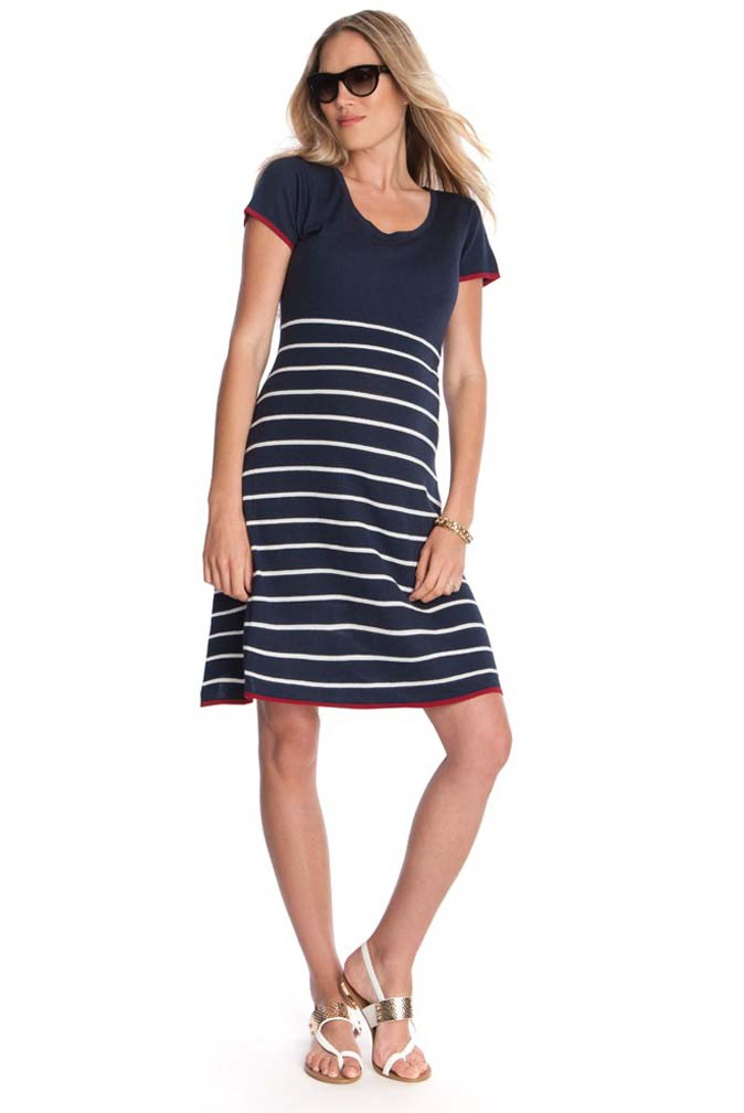Seraphine Hillary Knitted Nautical Maternity Dress | Maternity Clothes