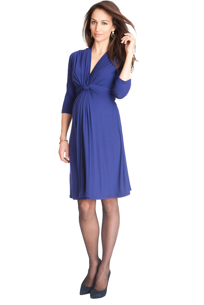 Seraphine Jolene Knot Front Maternity And Nursing Dress - 3/4 Sleeve ...