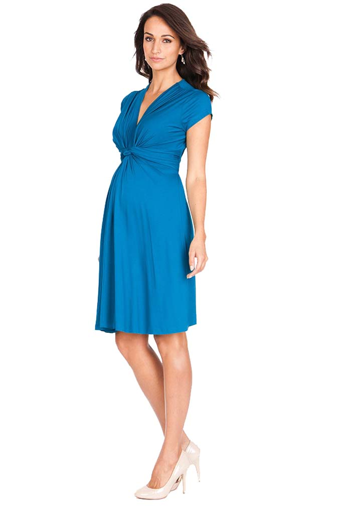 1bb122c3557e9 Seraphine Jolene Knot Front Maternity And Nursing Dress - Short Sleeve -  Solid | Maternity Clothes on Sale at Due Maternity