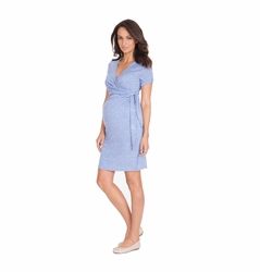 Seraphine Short Sleeve Renata Faux Wrap Maternity Nursing Dress