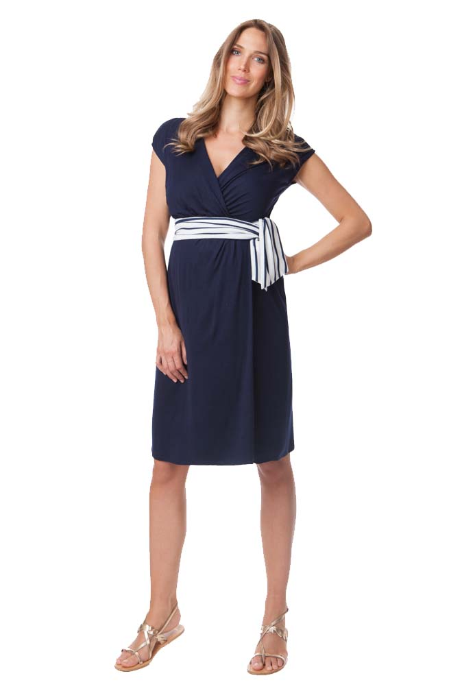Maternity dresses are also a great choice for formal occasions. If maternity pants feel a little too restricting, then you'll love the freedom of a draped wrap dress. The gorgeous neckline and wrapped bodice shape the silhouette, while the gathered skirt keeps you comfortable all night long.
