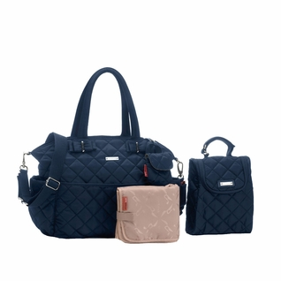SOLD OUT Storksak Bobby Quilted Diaper Bag And Tote Set - Navy
