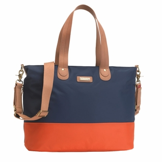 TEMPORARILY OUT OF STOCK Storksak Color Block Tote Diaper Bag - Navy/Orange