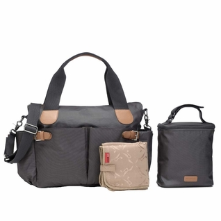 TEMPORARILY OUT OF STOCK Storksak Kay Coated Canvas Diaper Bag Set - Grey