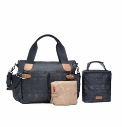TEMPORARILY OUT OF STOCK Storksak Kay Coated Canvas Diaper Bag Set - Navy Crosshatch