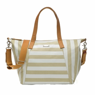 TEMPORARILY OUT OF STOCK Storksak Noa Coated Canvas Diaper Bag Set - Fawn Stripe