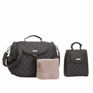 Storksak Poppy Quilted Backback Diaper Bag Set - Charcoal Grey