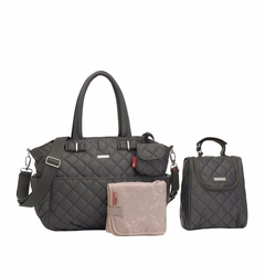 TEMPORARILY OUT OF STOCK Storksak Bobby Quilted Diaper Bag And Tote Set - Charcoal Grey