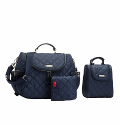 TEMPORARILY OUT OF STOCK Storksak Poppy Quilted Backback Diaper Bag Set - Navy