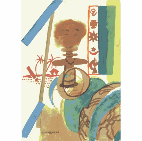African Art- Watercolor Painting- Fertility Doll by Vincent