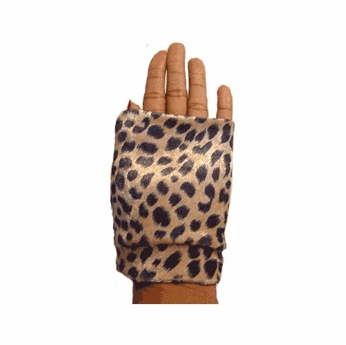 Fingerless Gloves- Stretch Fingerless Gloves, Mitts - Leopard