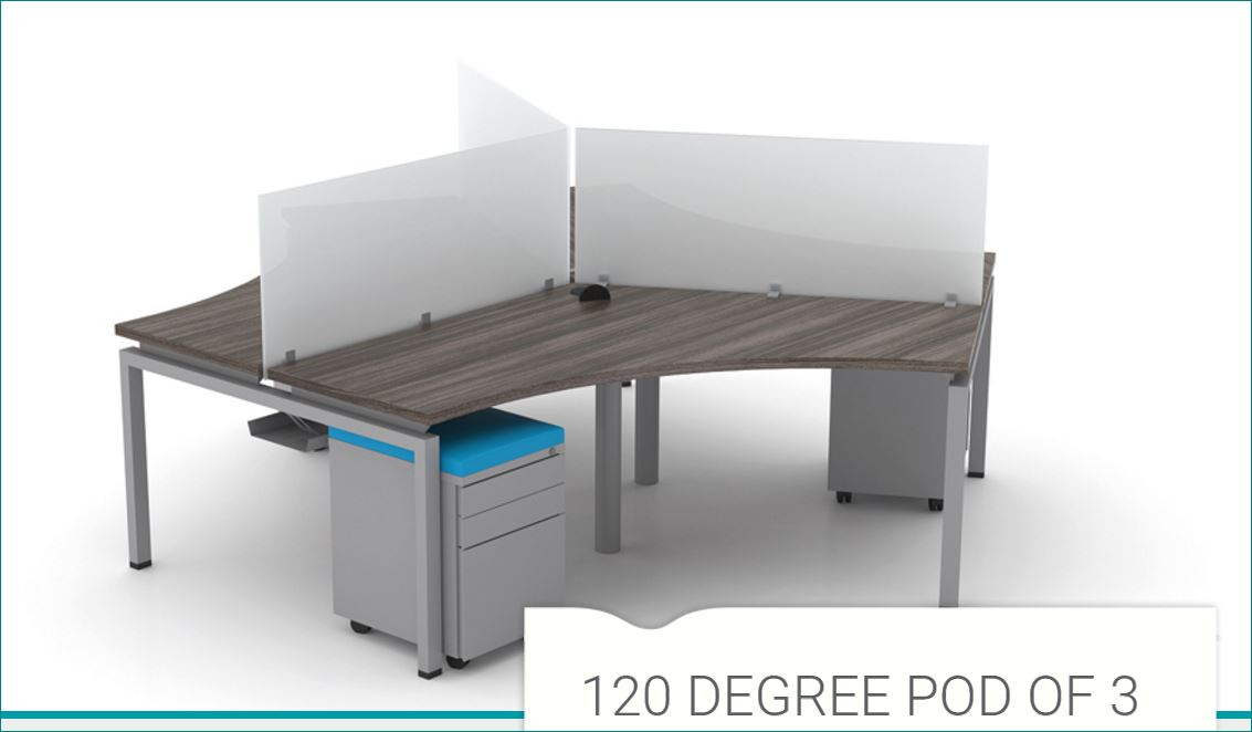 ERGONOMIC HOME FIXED HEIGHT MODULAR CONTROL ROOM WORKSTATIONS. 120 DEGREE POD OF 3. FREE SHIPPING 5-7 BIZ DAYS+ASSEMBLY INCLUDED! <font color=#c60>READ MORE...</font>