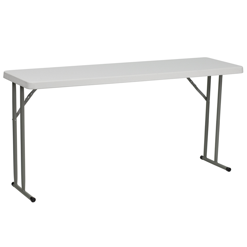 ERGONOMIC HOME 18''W x 60''L Granite White Plastic Folding Training Table