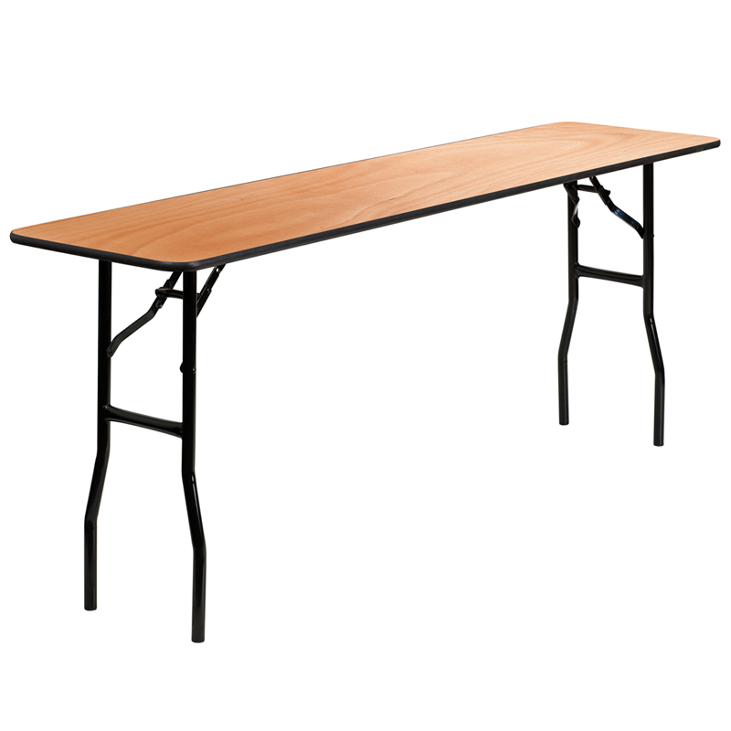 ERGONOMIC HOME 18'' x 72'' Rectangular Wood Folding Training / Seminar Table with Smooth Clear Coated Finished Top