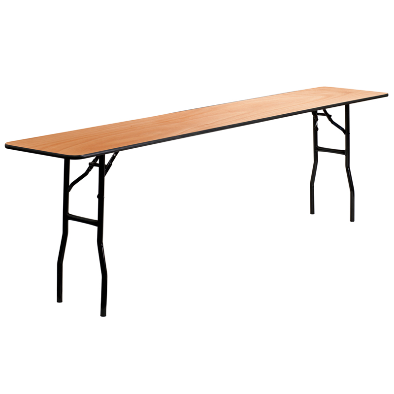 ERGONOMIC HOME 18'' x 96'' Rectangular Wood Folding Training / Seminar Table with Smooth Clear Coated Finished Top