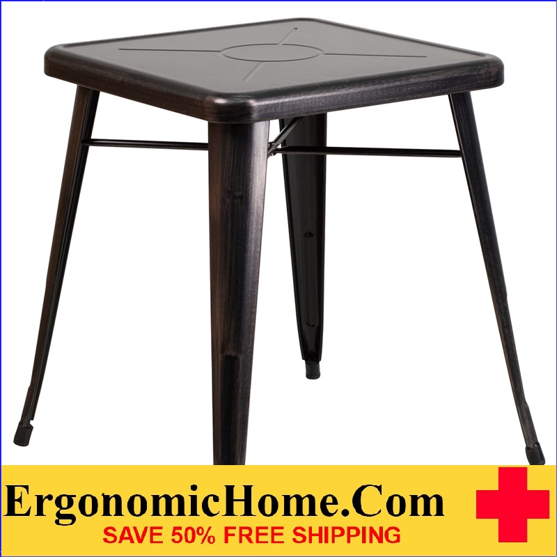 ERGONOMIC HOME 23.75'' Square Black-Antique Gold Metal Indoor-Outdoor Table | <b><font color=green>50% Off Read More Below...</font></b>