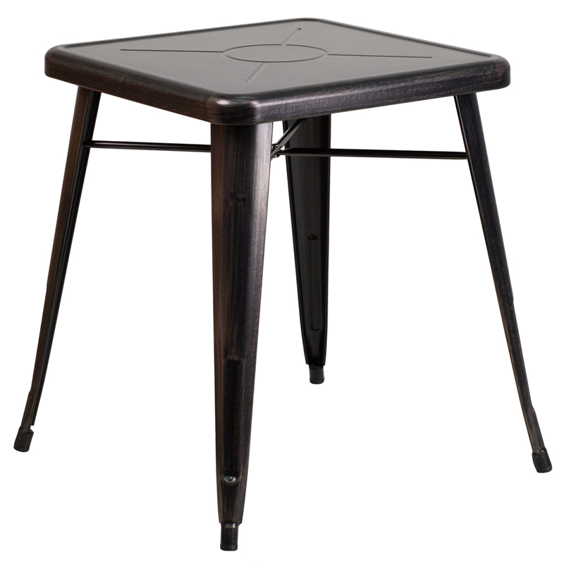 ERGONOMIC HOME 23.75'' Square Black-Antique Gold Metal Indoor-Outdoor Table