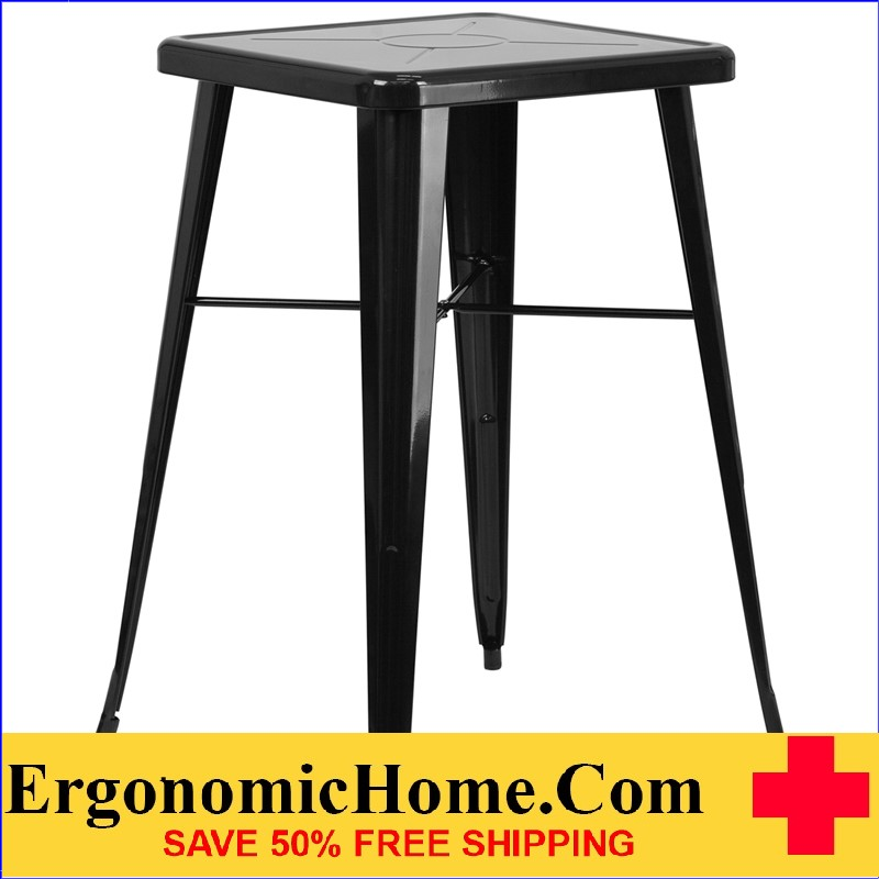 ERGONOMIC HOME 23.75'' Square Black Metal Indoor-Outdoor Bar Height Table | <b><font color=green>50% Off Read More Below...</font></b>