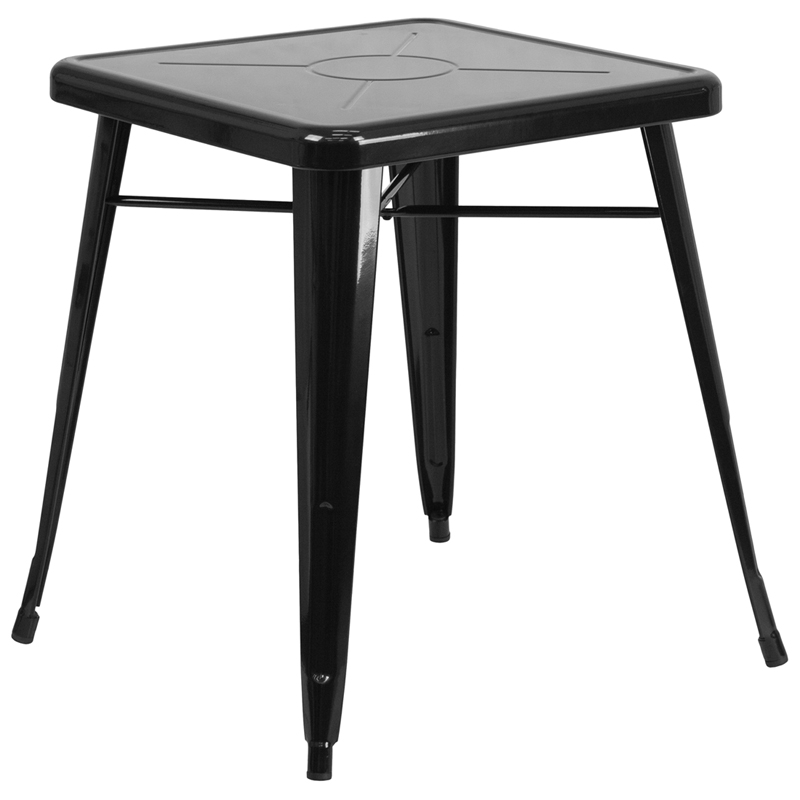 ERGONOMIC HOME 23.75'' Square Black Metal Indoor-Outdoor Table