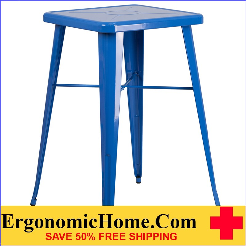 ERGONOMIC HOME 23.75'' Square Blue Metal Indoor-Outdoor Bar Height Table | <b><font color=green>50% Off Read More Below...</font></b>